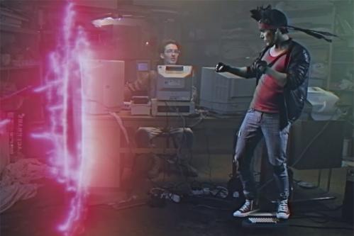 Hackerman (Leopold Nilsson) hacking time so Kung Fury (David Sandberg) can surf back to the past on his keyboard. 2015 Lampray.